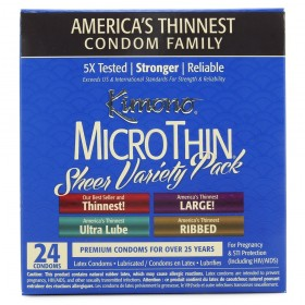 Kimono MicroThin Sheer Variety Pack Condoms (24-Pack)